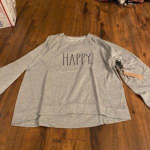 Rae dunn grey happy sweatshirt